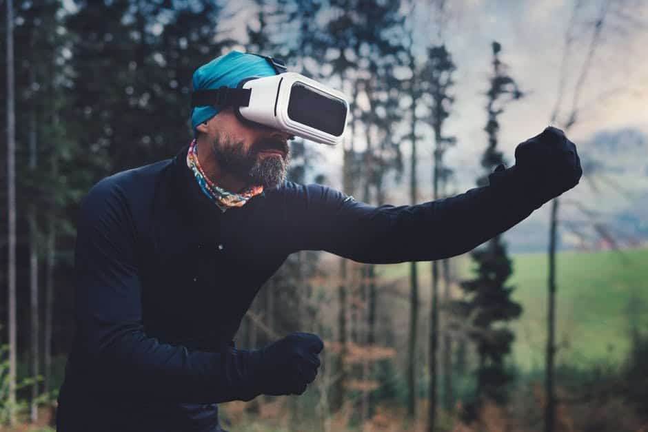 A person with a virtual reality
